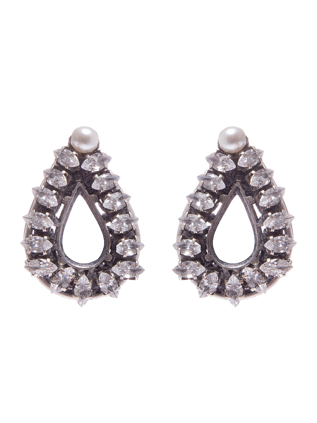 Crystal drop earrings with pendent glass pearl