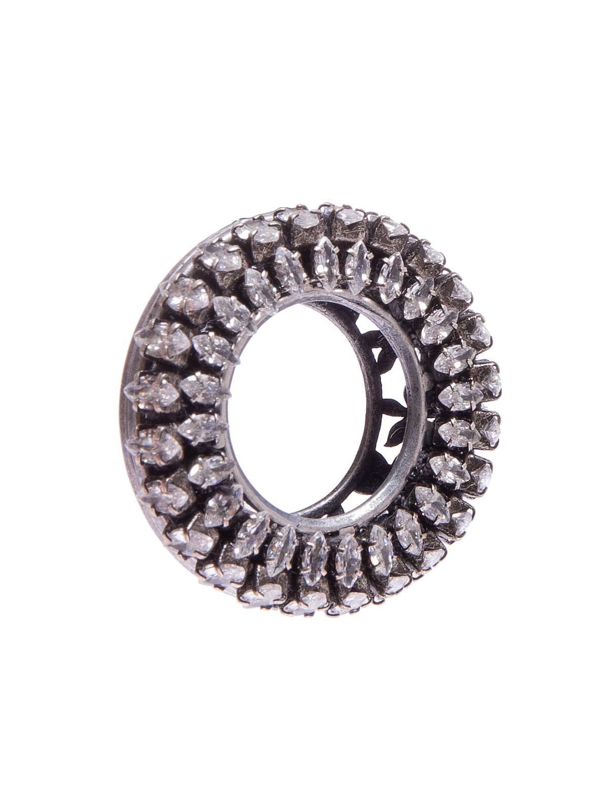 Orecchini tondi ricamati con pietre cristallo