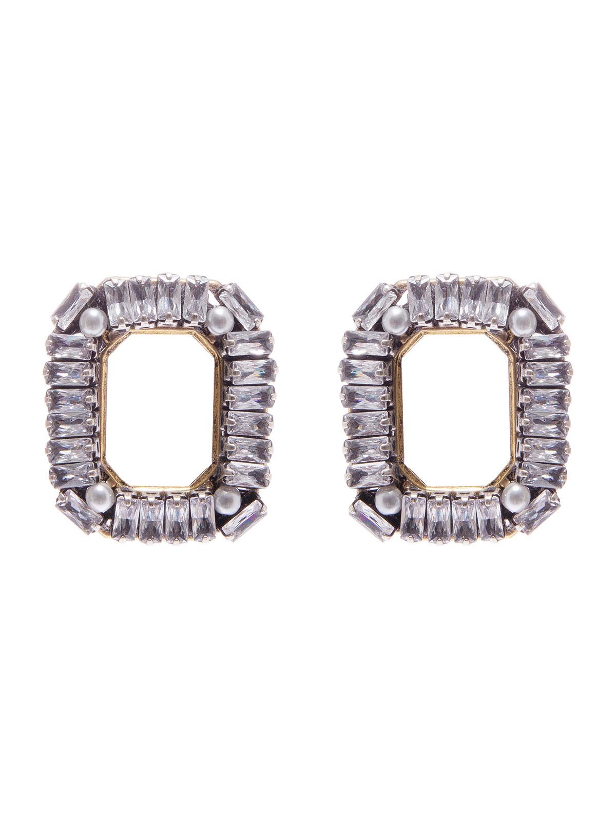 Orecchini ottagonali ricamati con baguettes cristallo