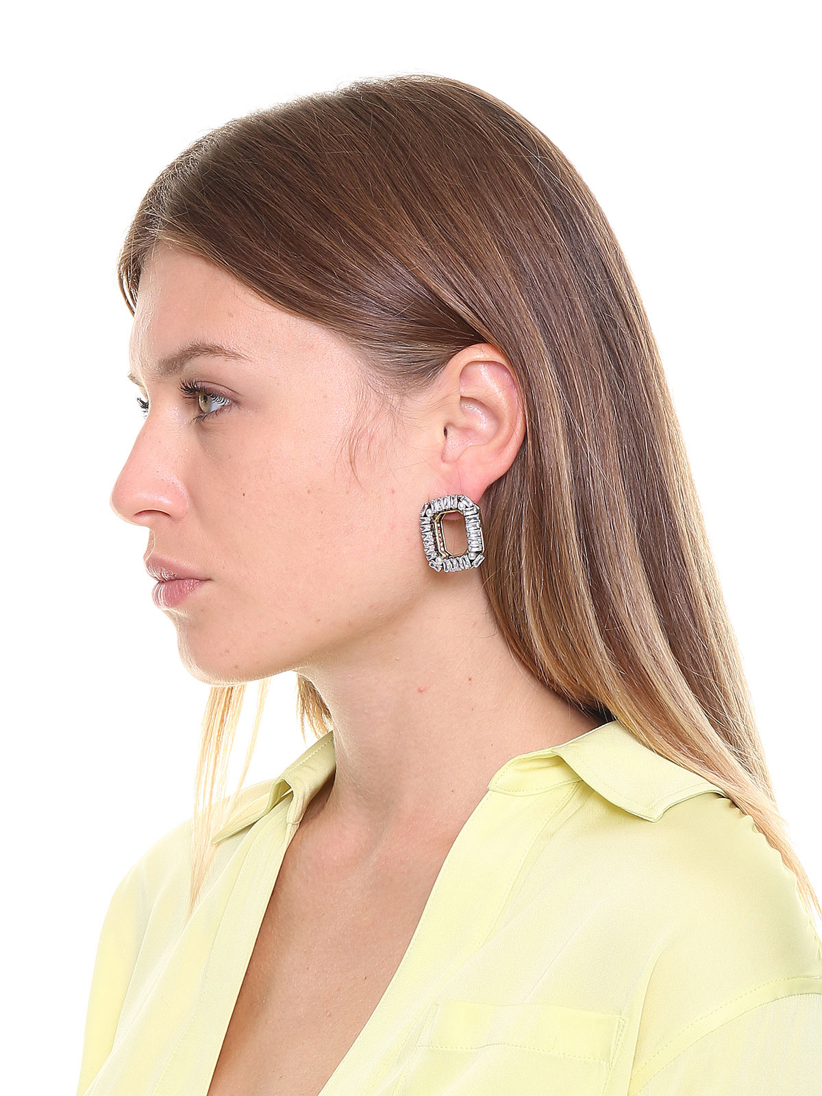 Octagonal crystal earrings