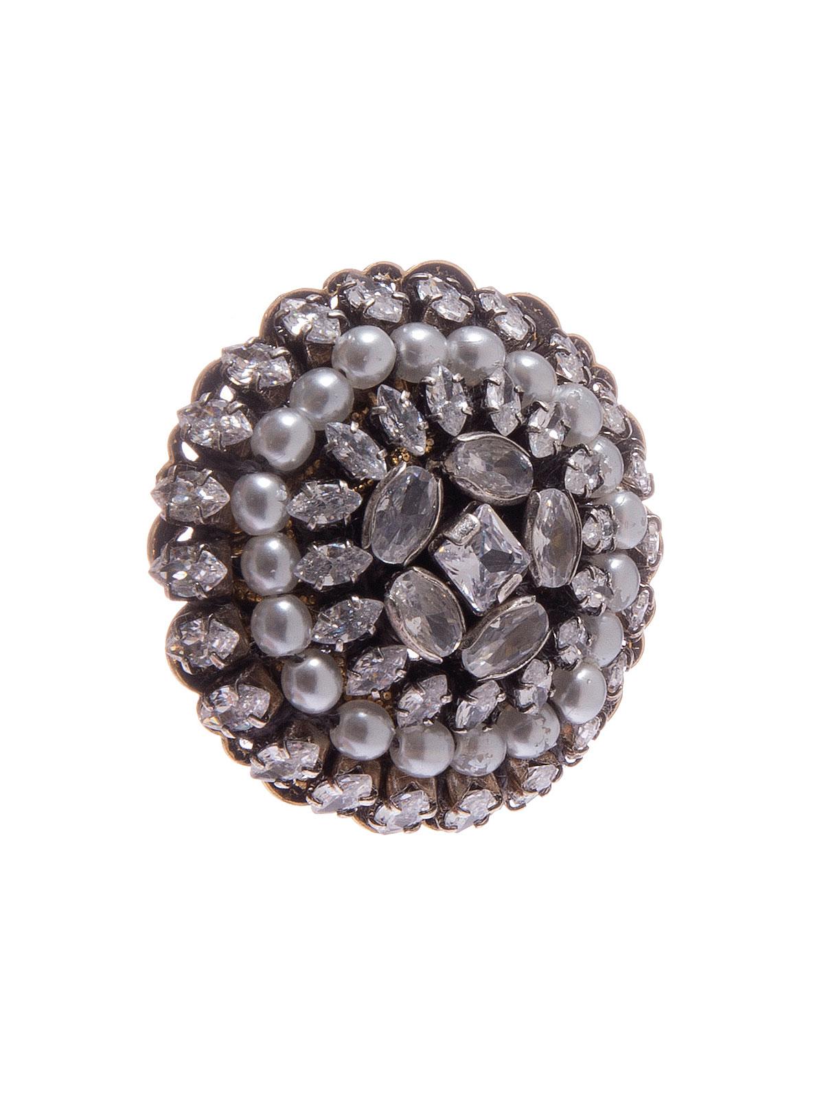 Orecchini tondi ricamati con pietre miste cristallo