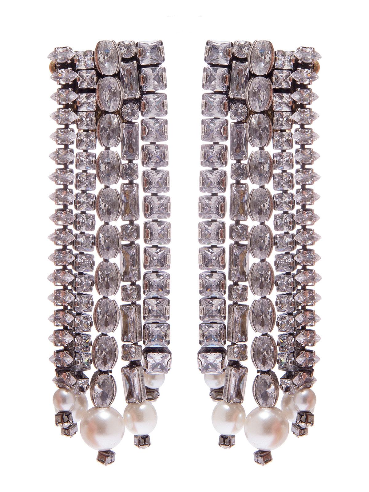Orecchini di fili di pietre cristallo con terminali di perle