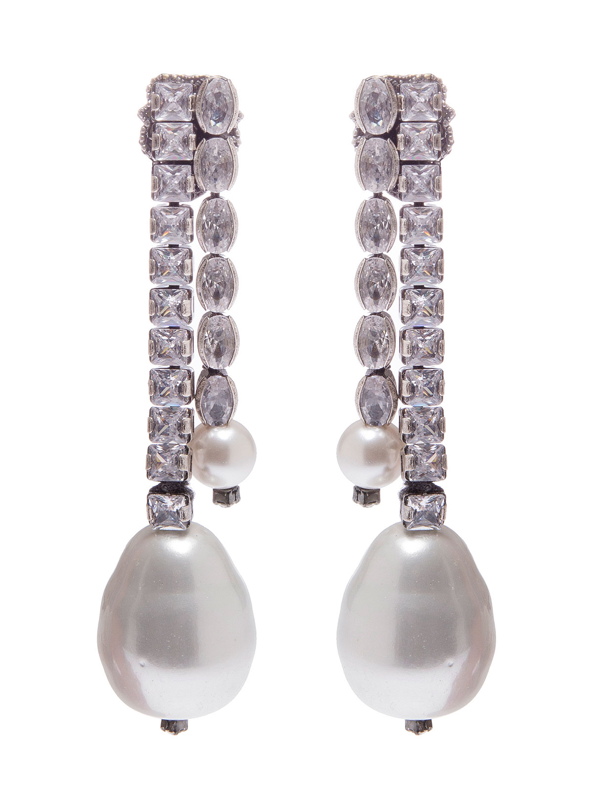 Crystal row earrings ending with glass pearls