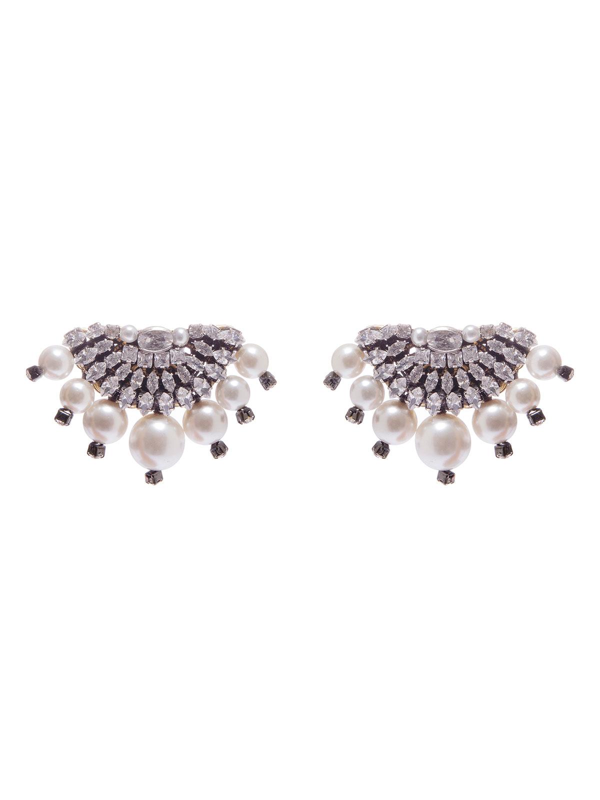 Orecchini semicerchio ricamati con piete cristallo e perle