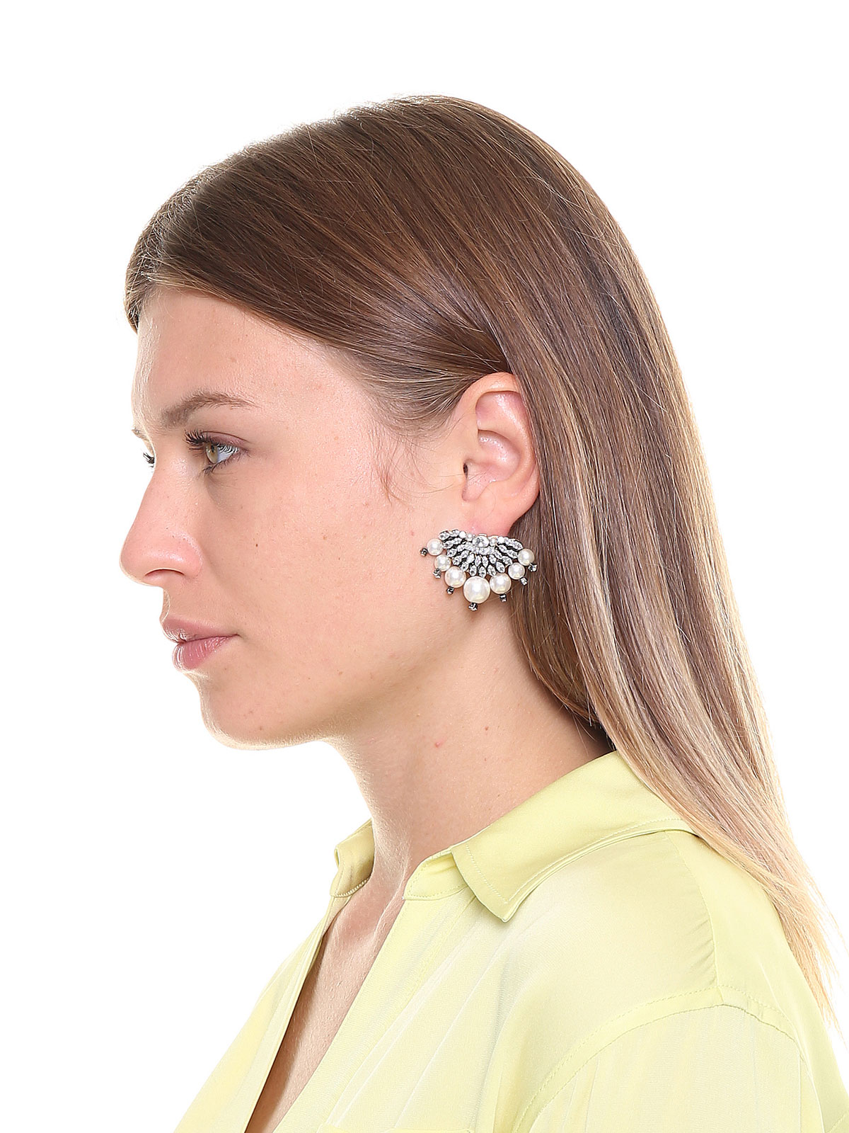 Crystal semicircle earrings with pendent pearls