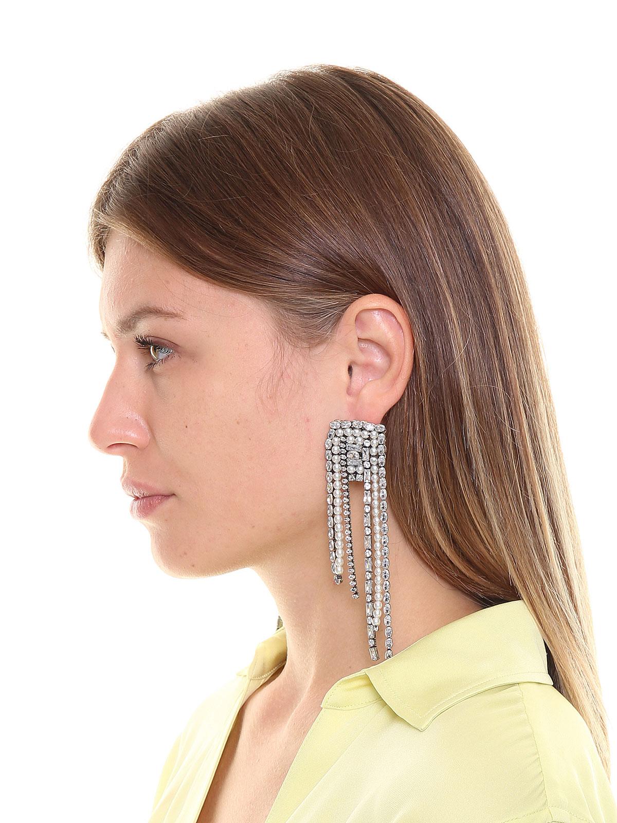 Orecchini cascata di pietre cristallo e perle