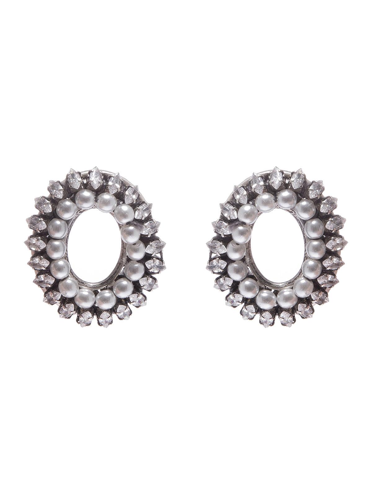 Orecchini ovali ricamati con pietre cristallo e perle