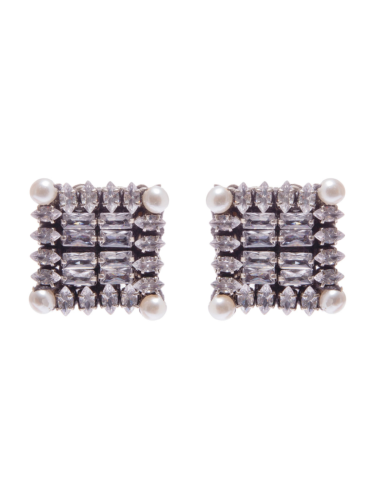 Square crystal earrings embellished with pearls