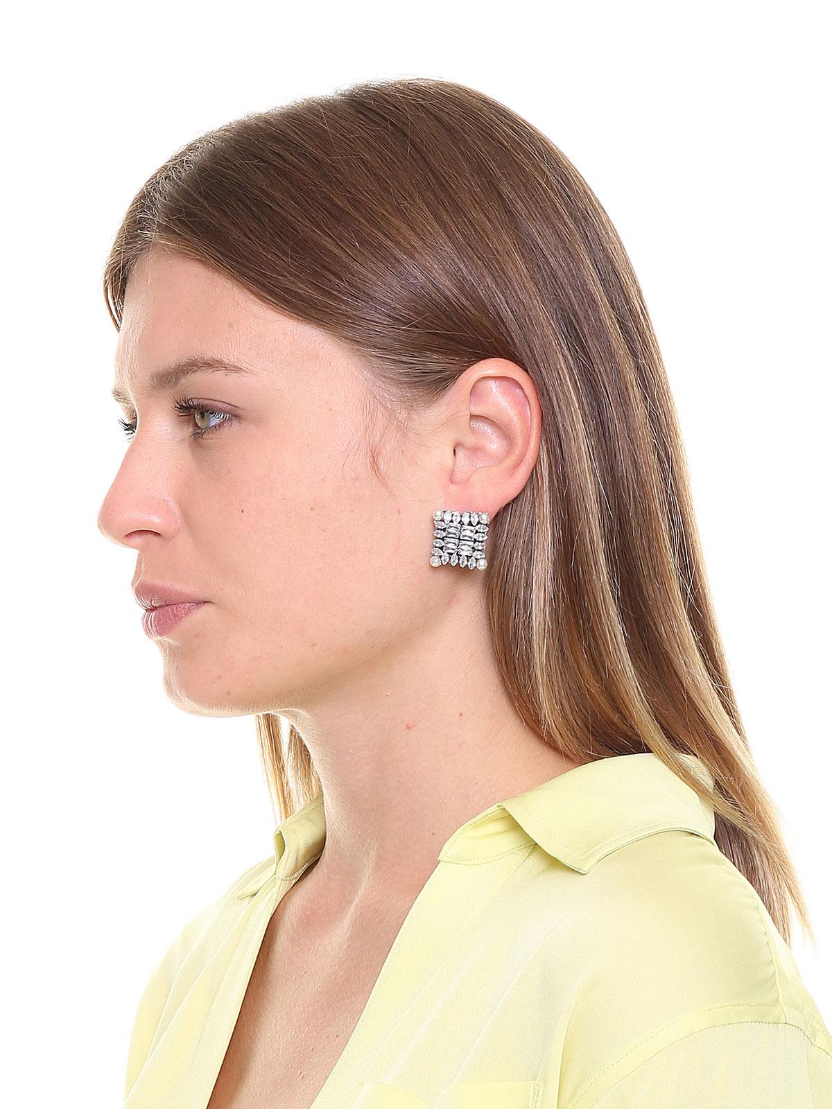 Orecchini con motivo quadrato di pietre cristallo e perle