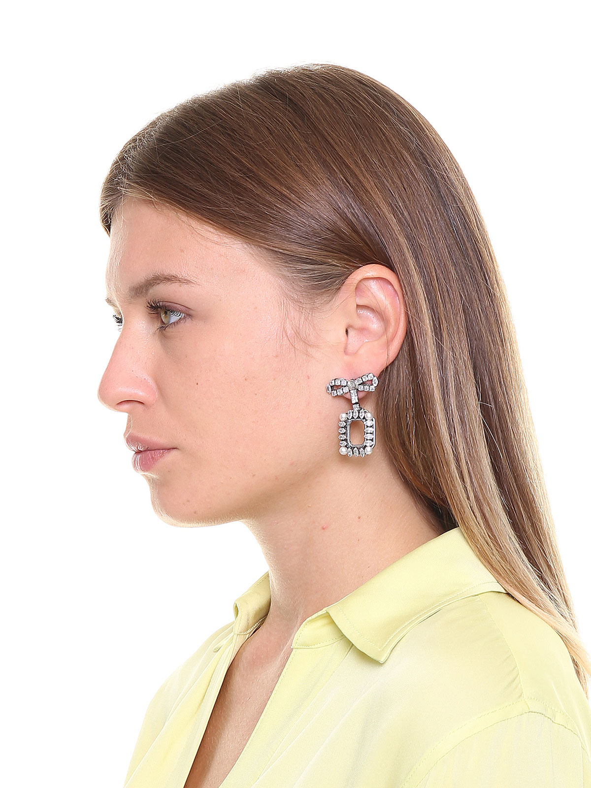Crystal bow earrings with pendent octagons embellished with crystals and pearls