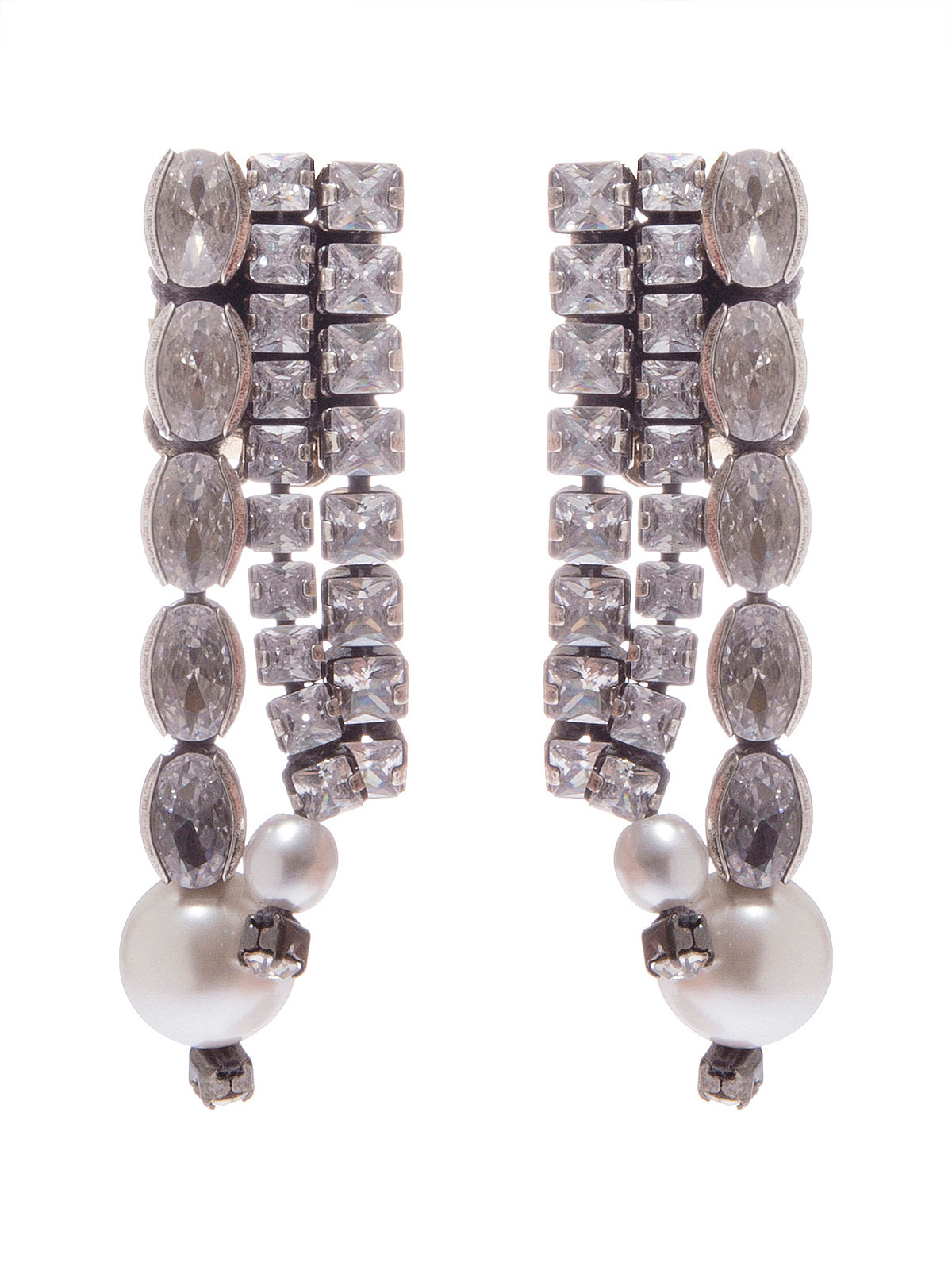 Crystal cascade earrings ending with glass pearls