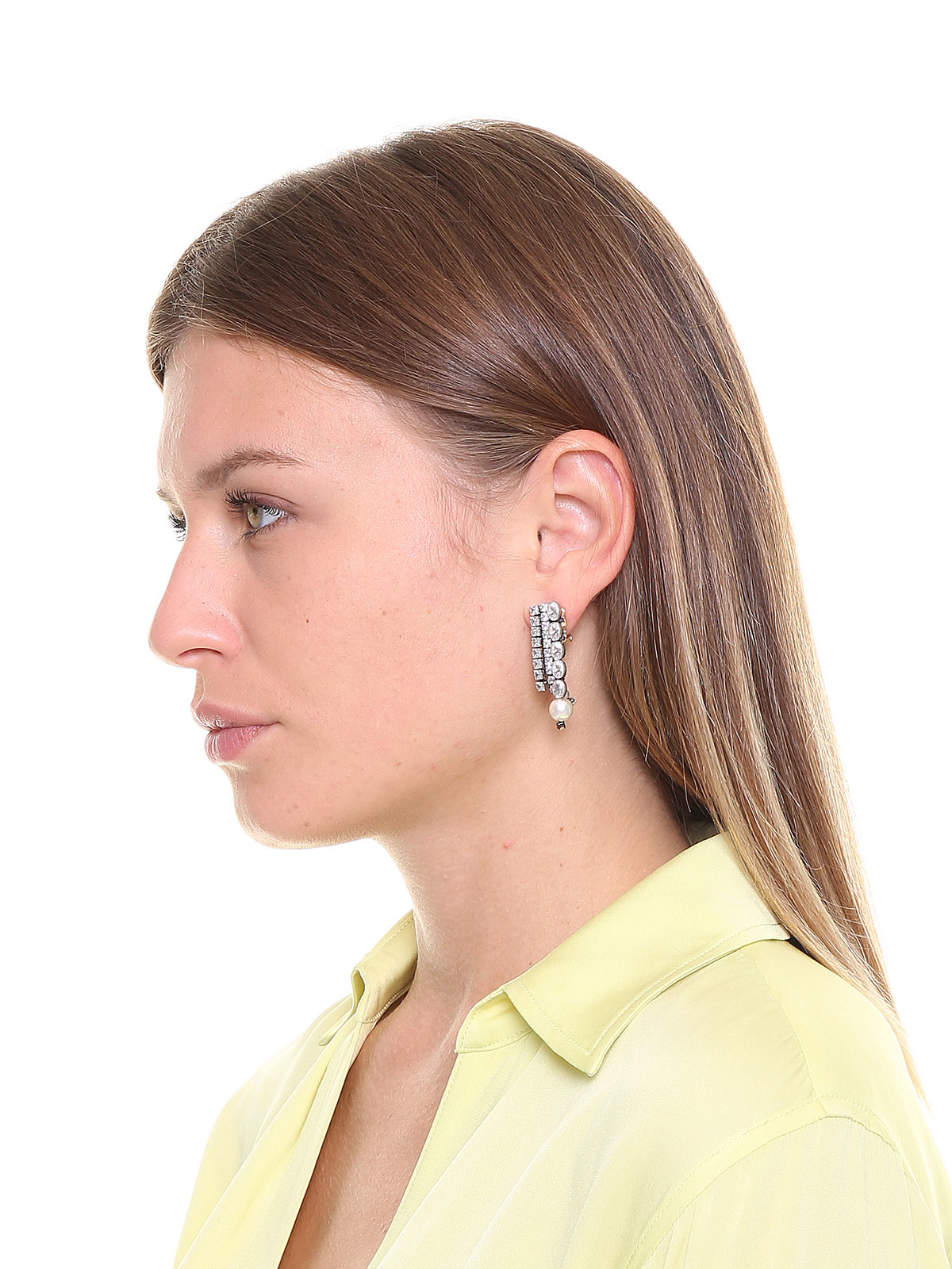 Orecchini cascata di pietre cristallo e terminali di perle