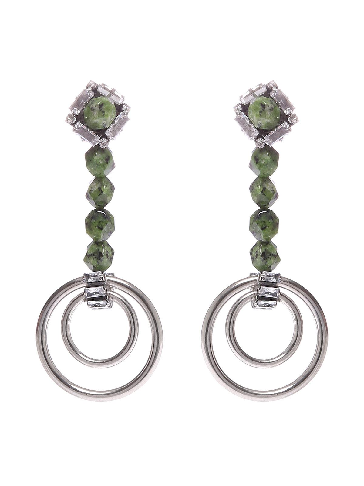 Orecchini con perle di Labradorite e cerchi colore argento antico