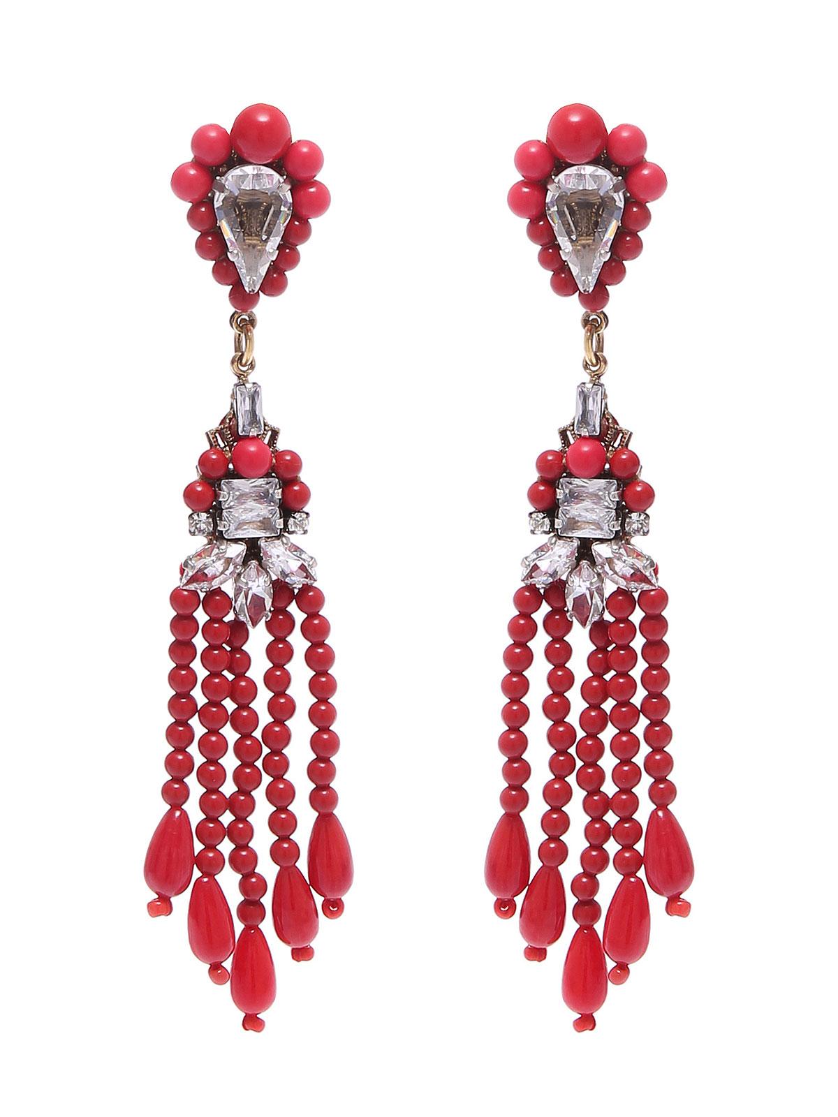 Orecchini con frange di perline in vetro colorato