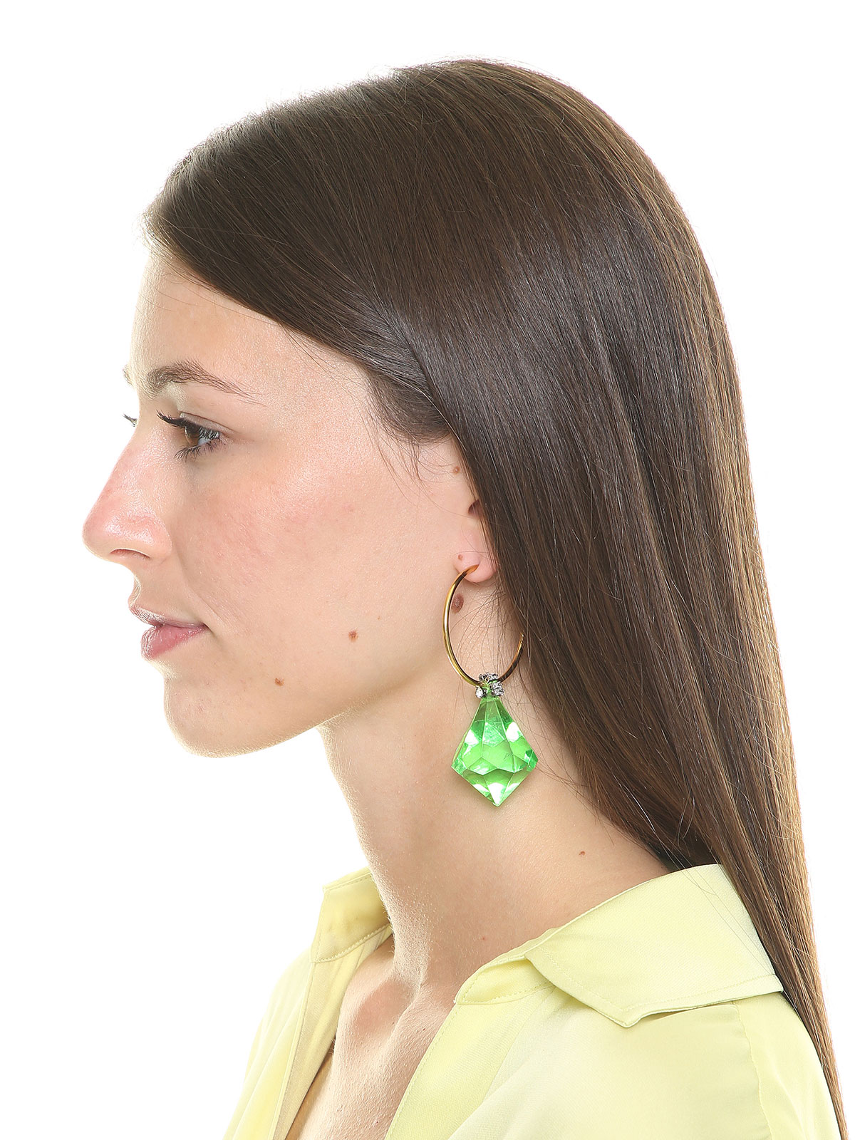 Hoop earrings with plexiglass drop