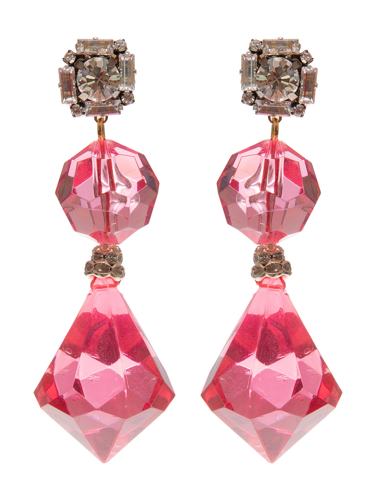 Earrings with plexiglass bead and drop