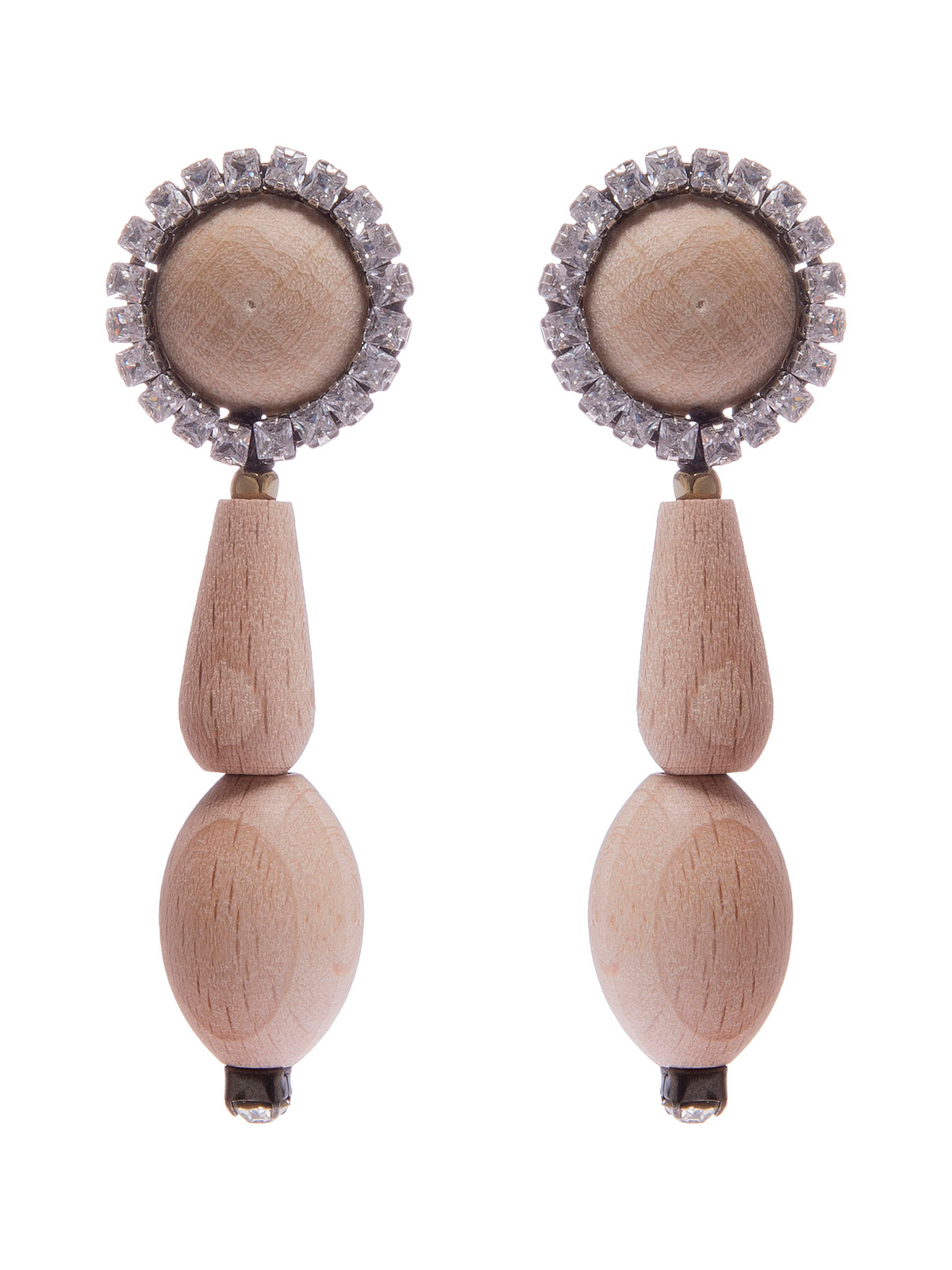 Wood cabochon earrings with wood drops and crystals