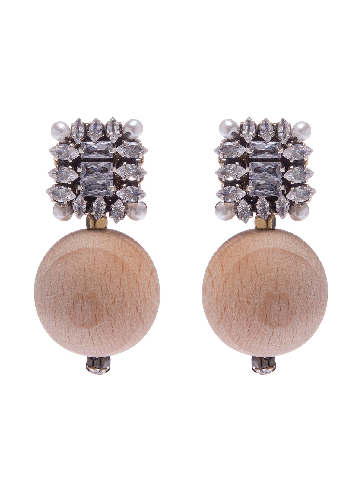 Crystal earrings with wood spheres