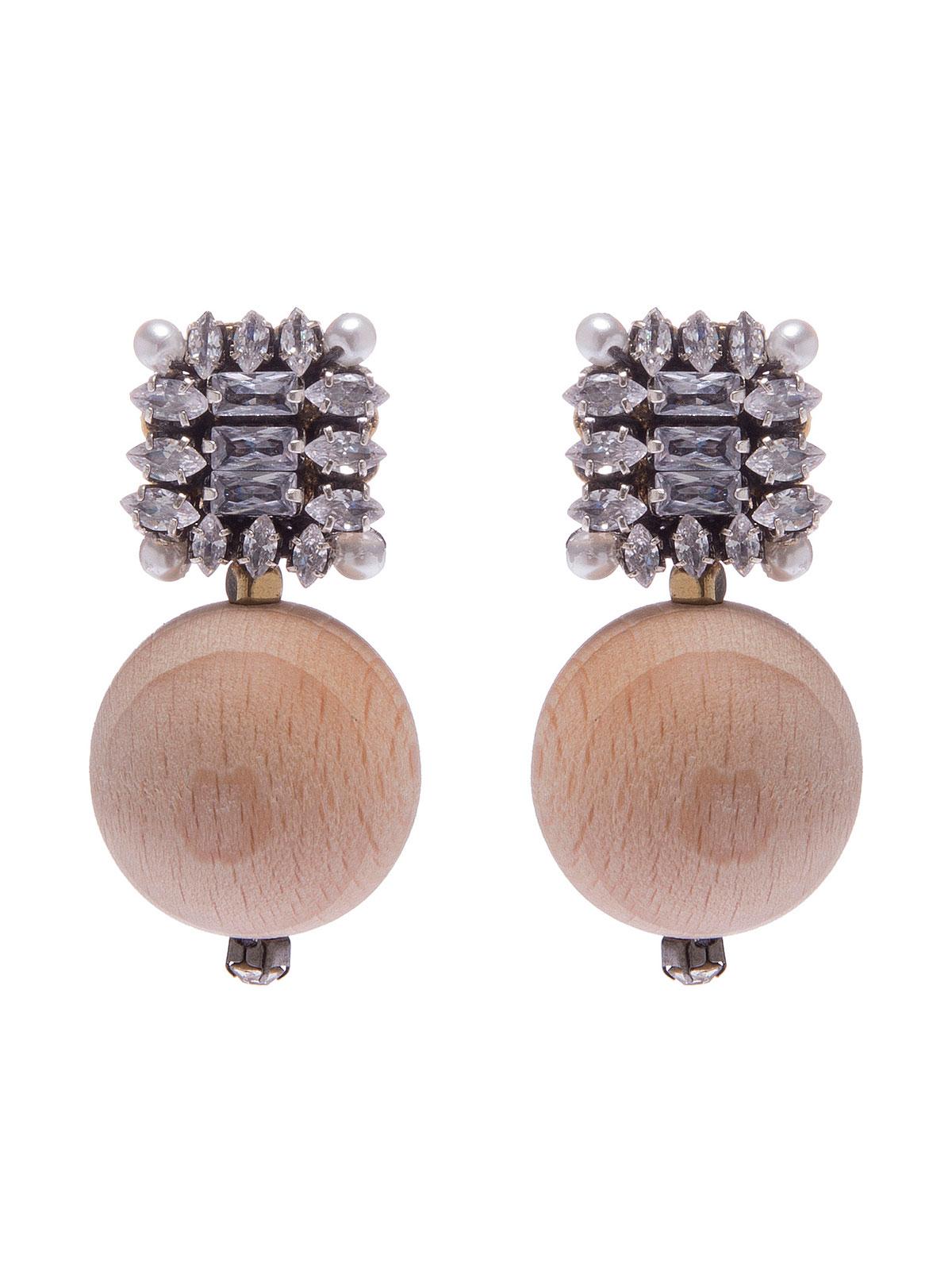 Orecchini  con pietre cristallo e sfere legno