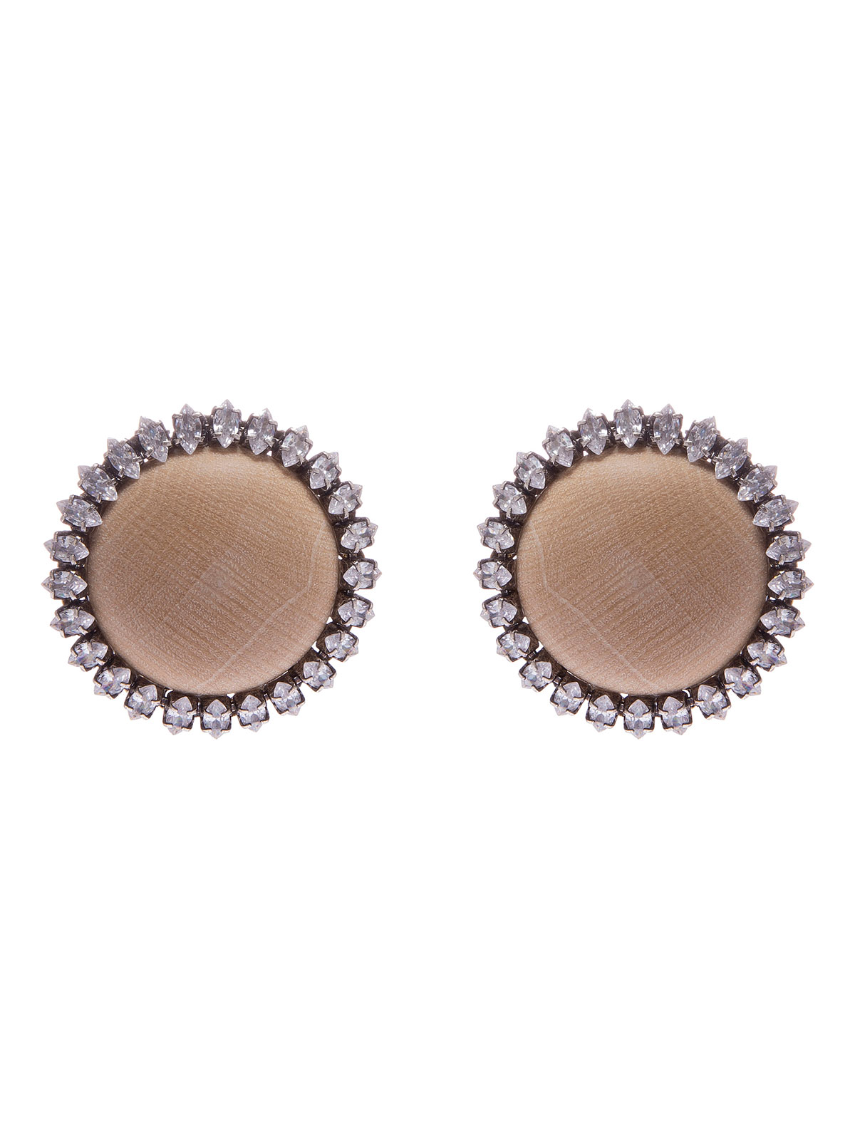 Wood cabochon earrings with crystals