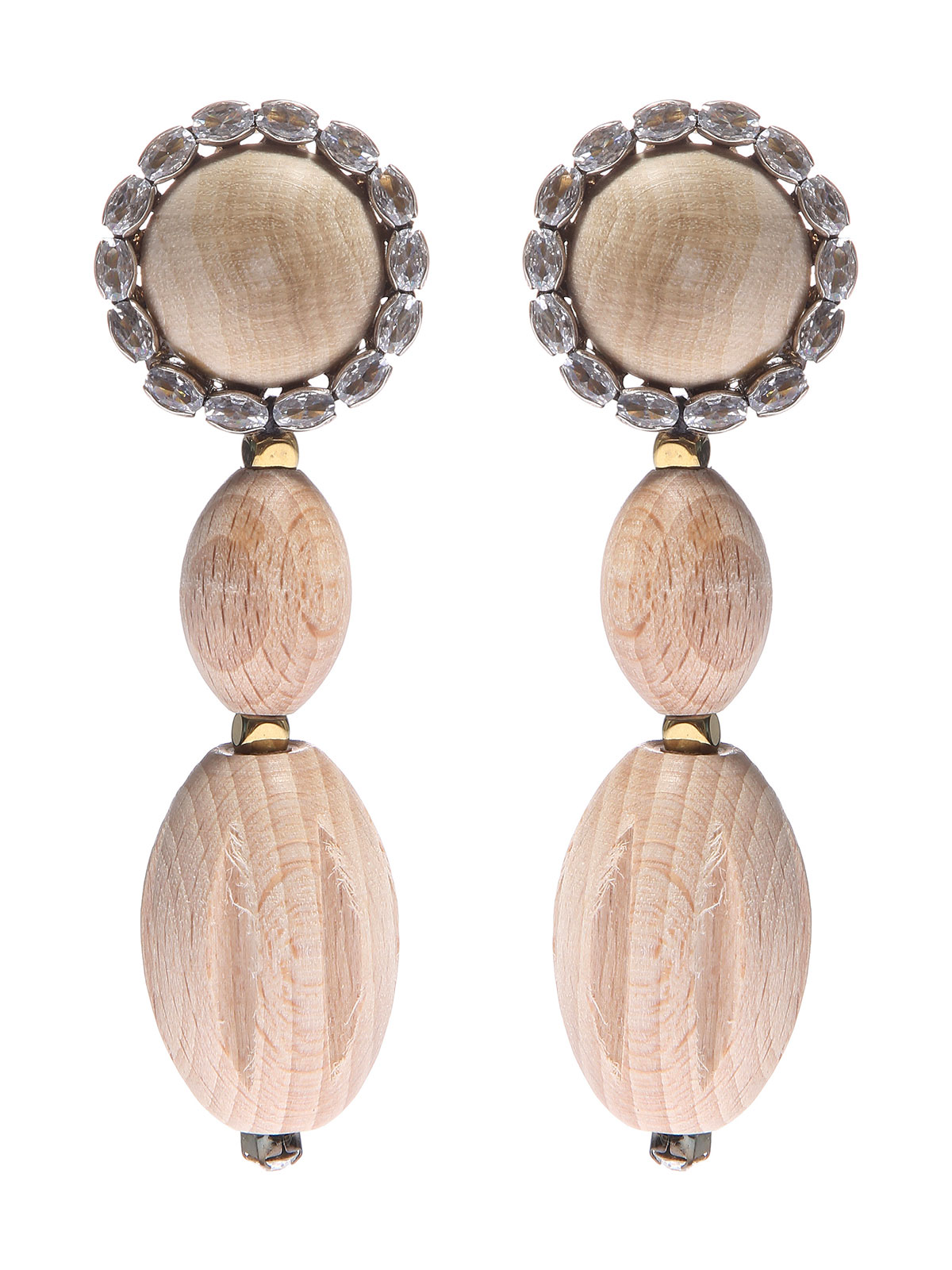 Wood cabochon earrings with crystals and pendent wood elements