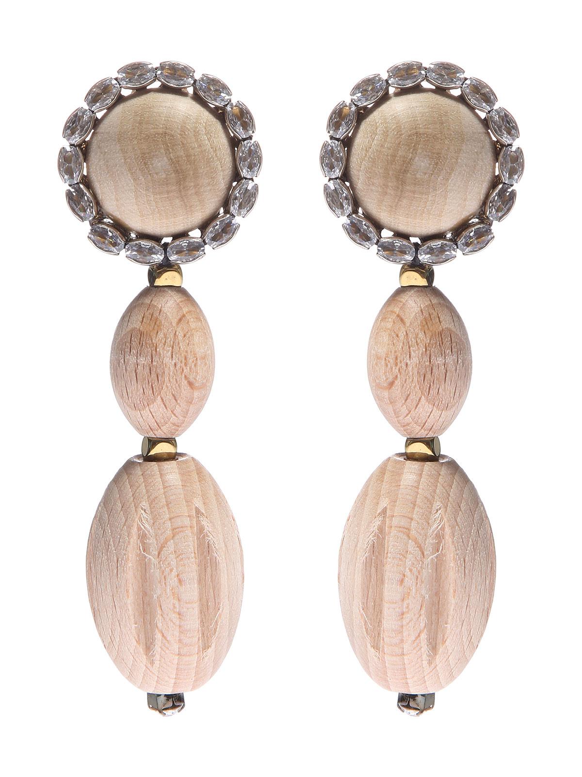 Orecchini con cabochon e pendenti in legno decorati con pietre
