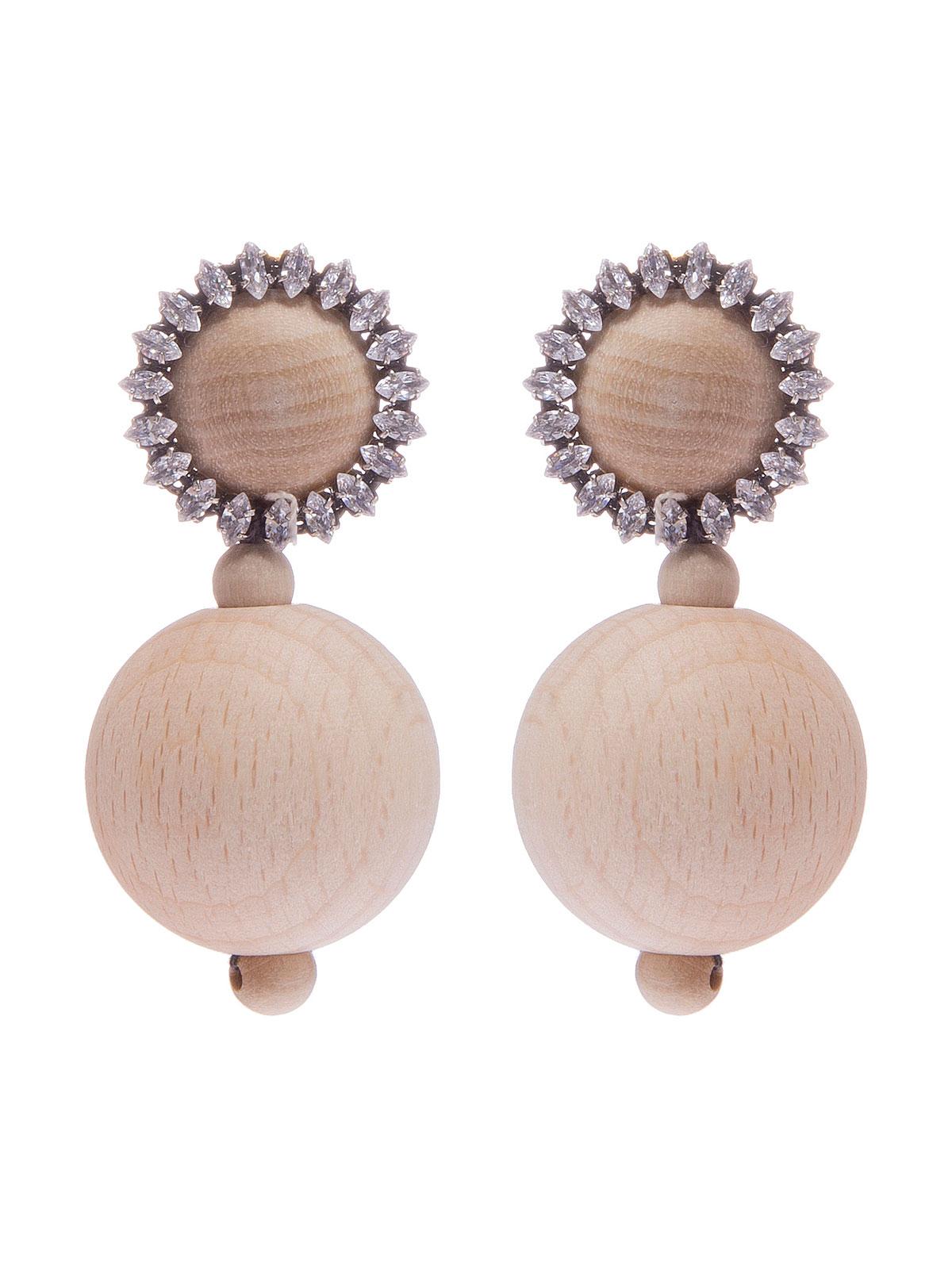 Orecchini con cabochond ecorati con pietre e pendenti in legno