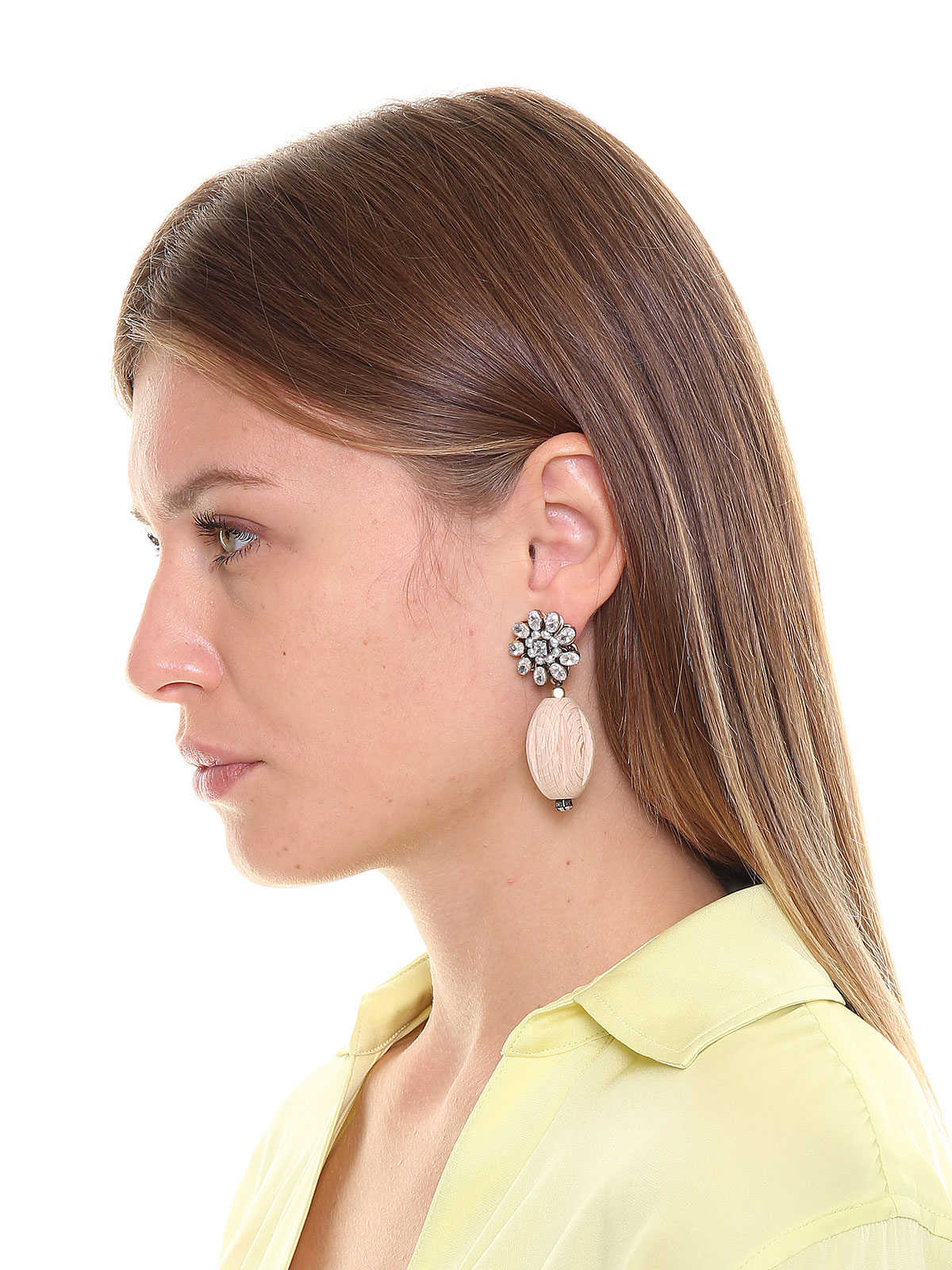 Jewel earrings with pendent wood elements