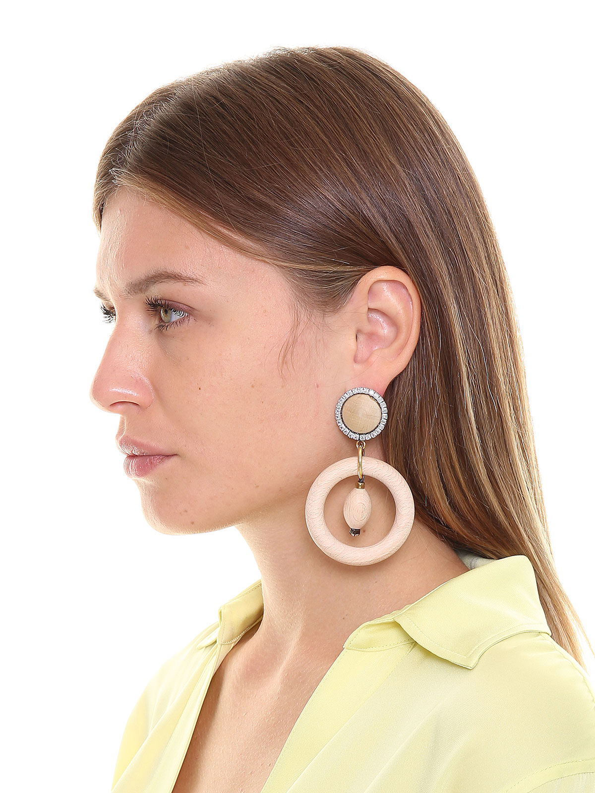 Wood cabochon earrings with wood hoops and crystals