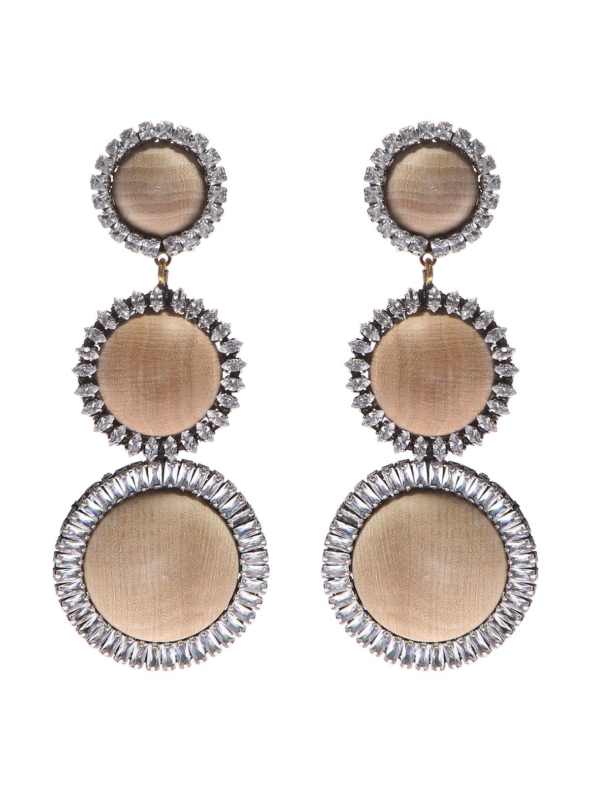 Orecchini cabochon e cerchi legno decorati con pietre cristallo