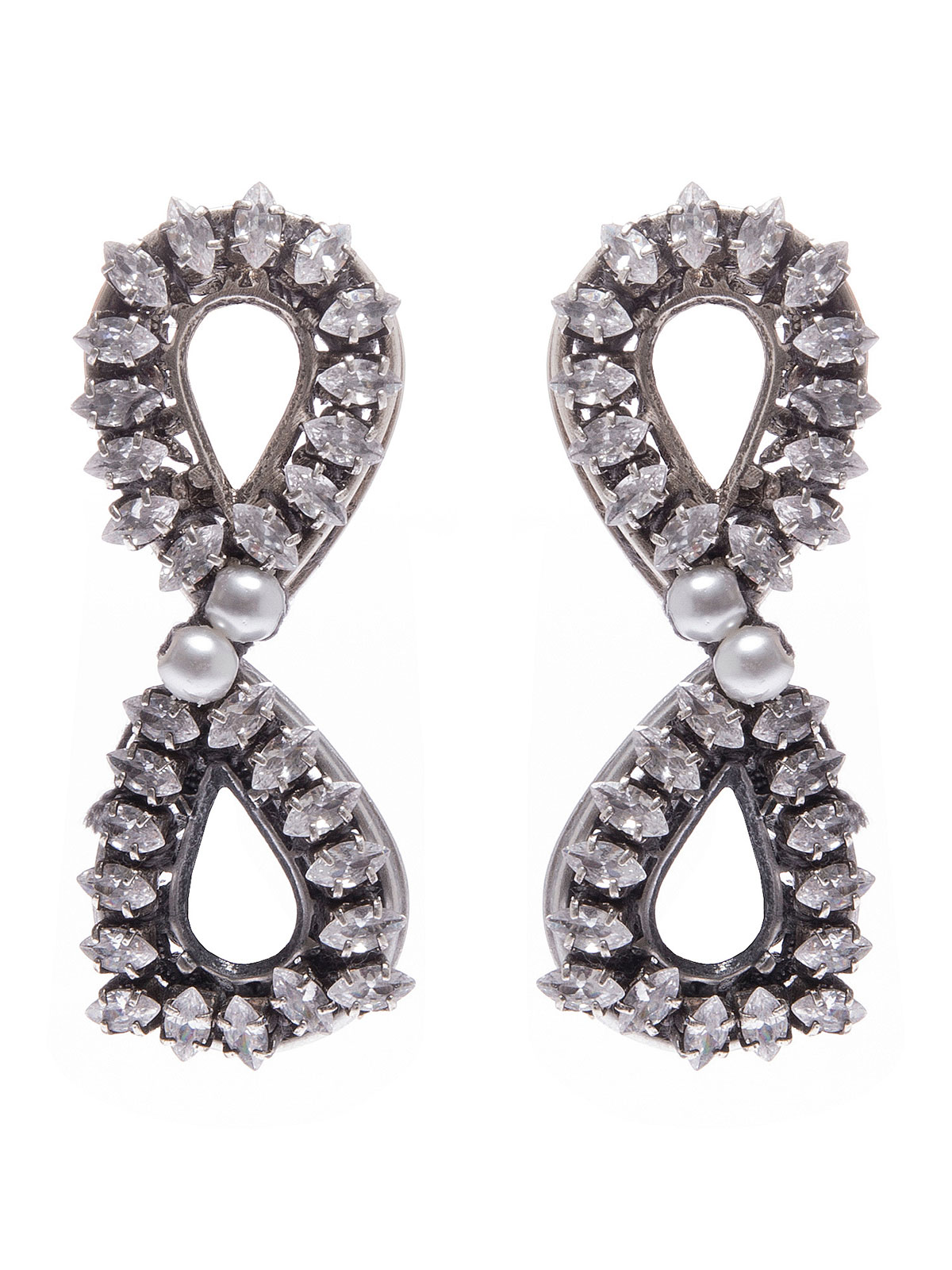 Double drop earrings embellished with crystals and pearls