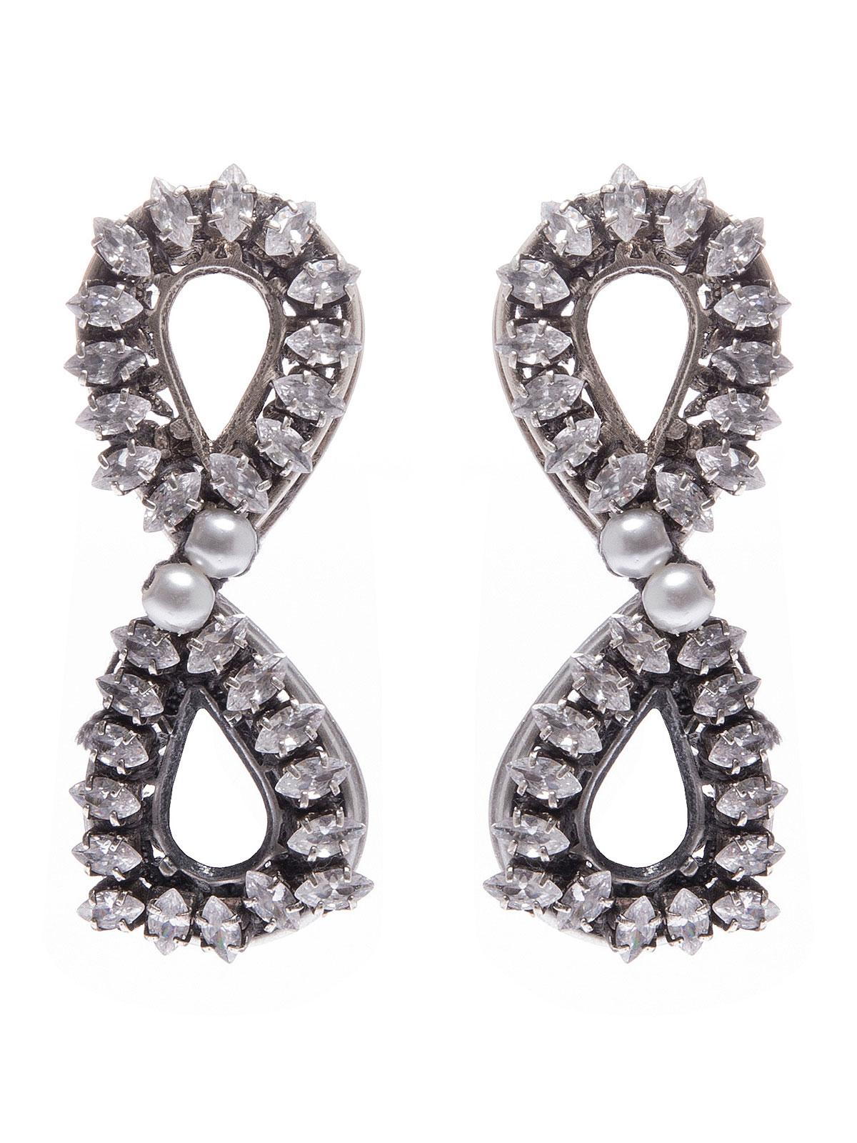 Orecchini doppia goccia ricamata con pietre cristallo