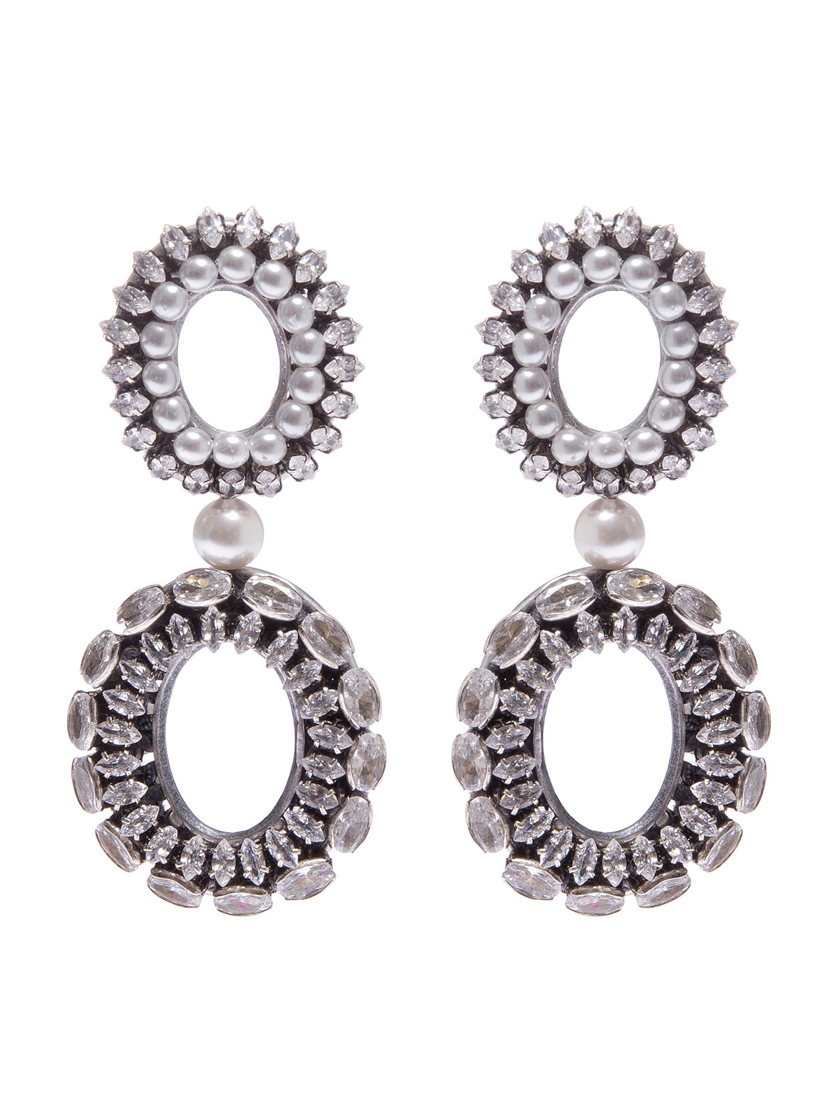 Double oval earrings embellished with crystals