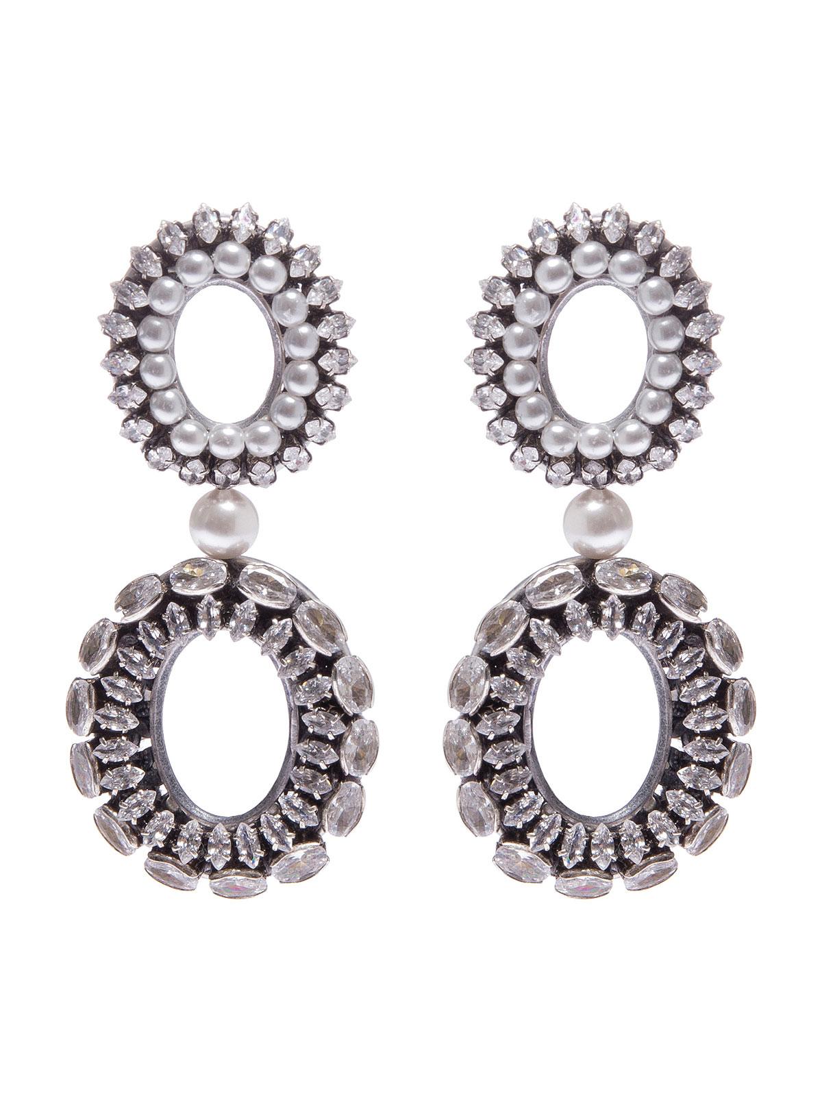 Orecchini doppio ovale ricamato con pietre cristallo