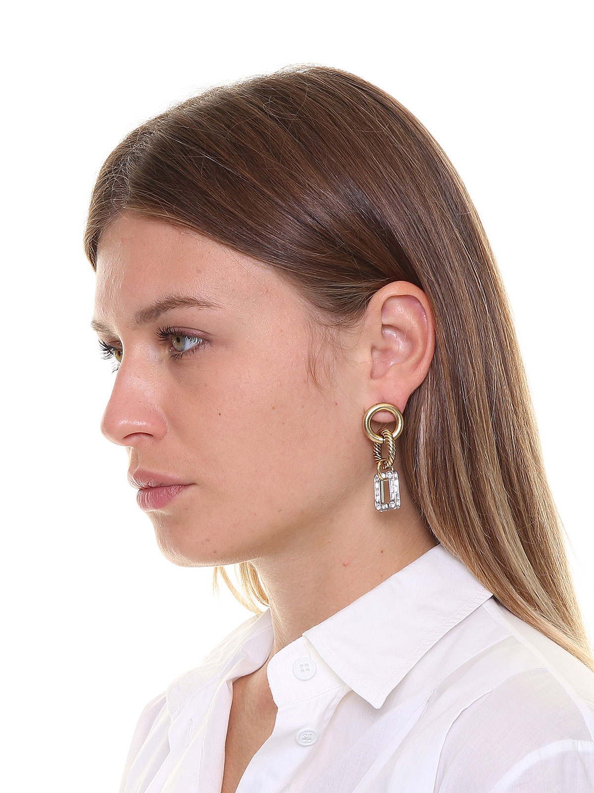 Hoop earrings with crystals