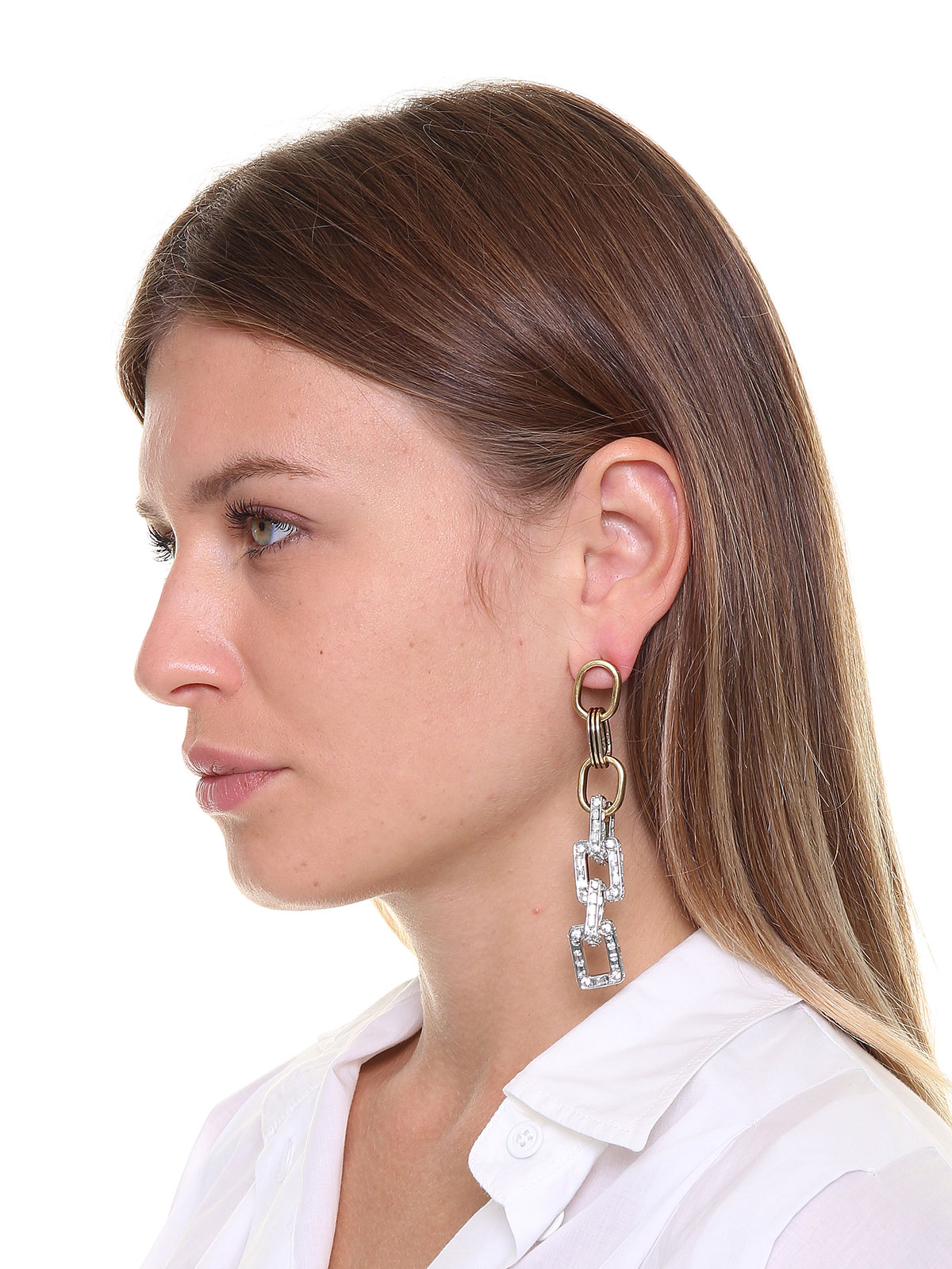 Pendent earrings with crystals