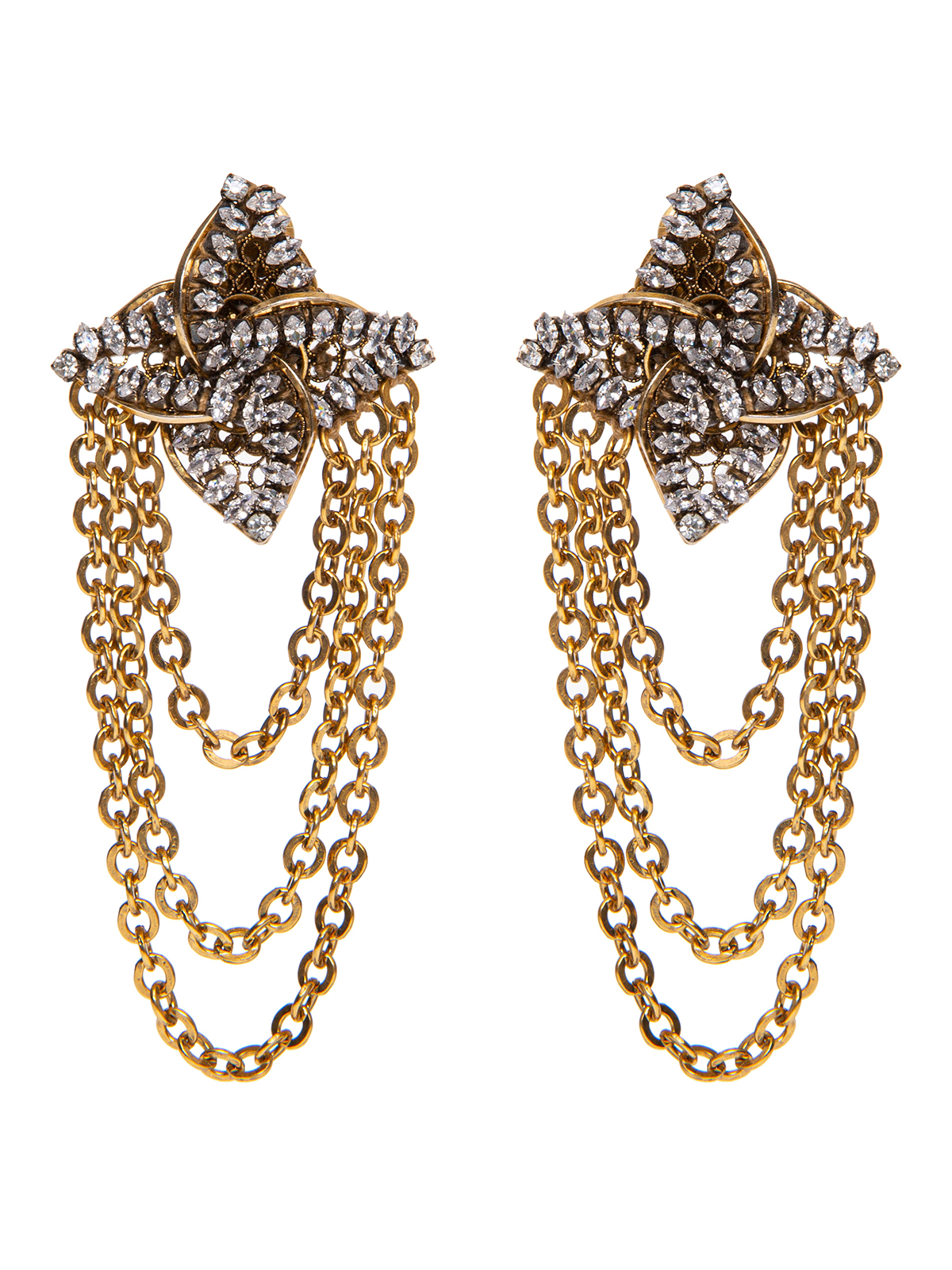 Earrings with  jewel helix-shaped decoration with chain cascade