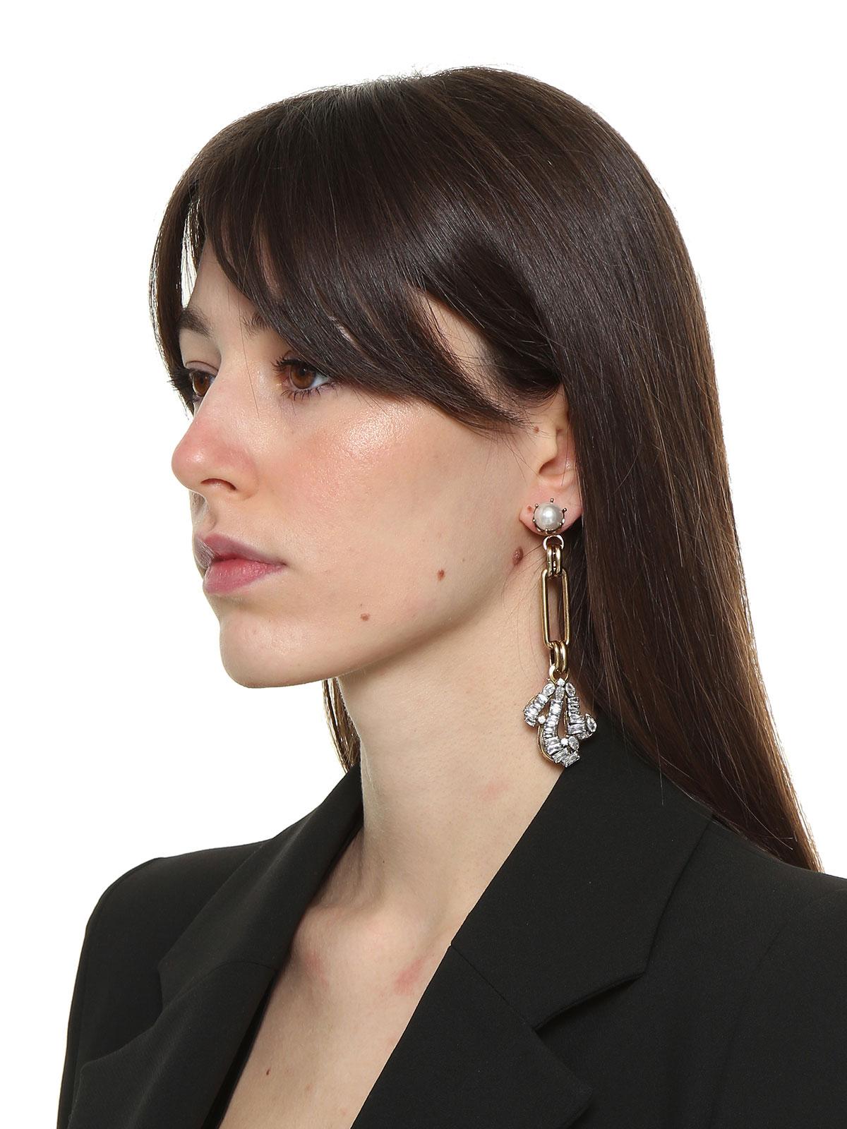 Orecchini di perle con pendente di catena e riccioli cristallo