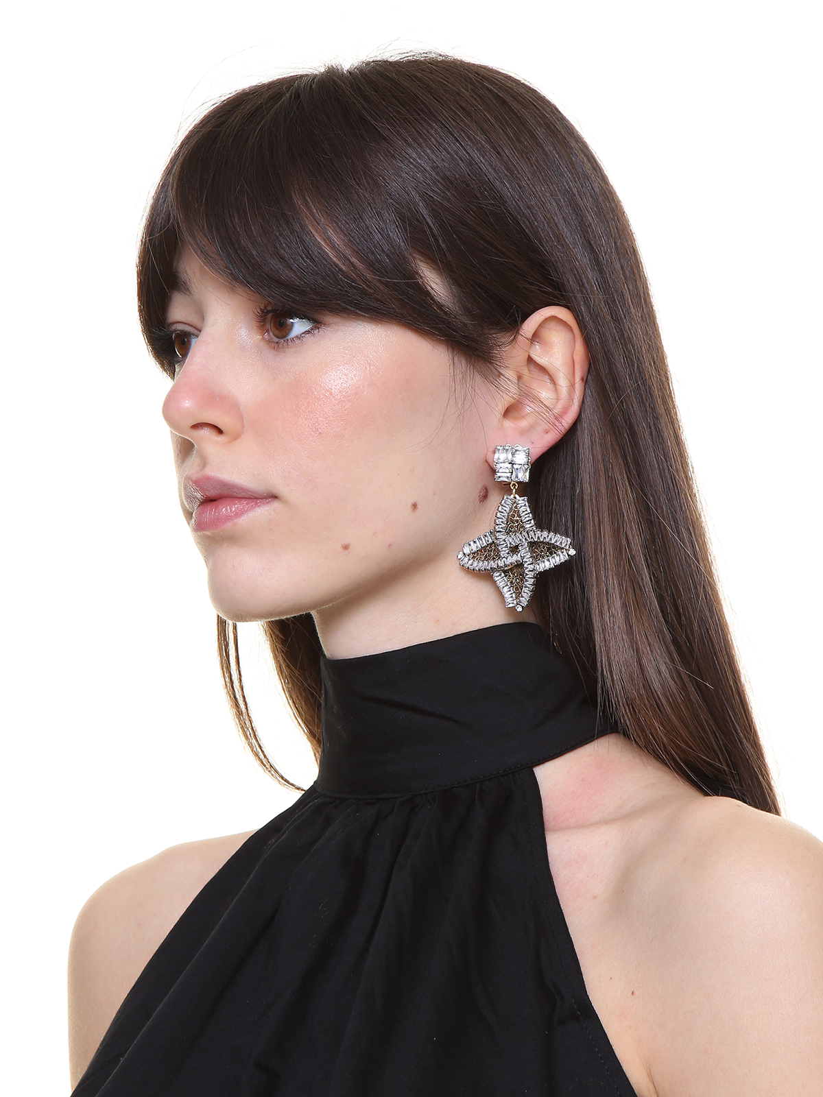Square crystal earrings with  jewel helix-shaped pendant