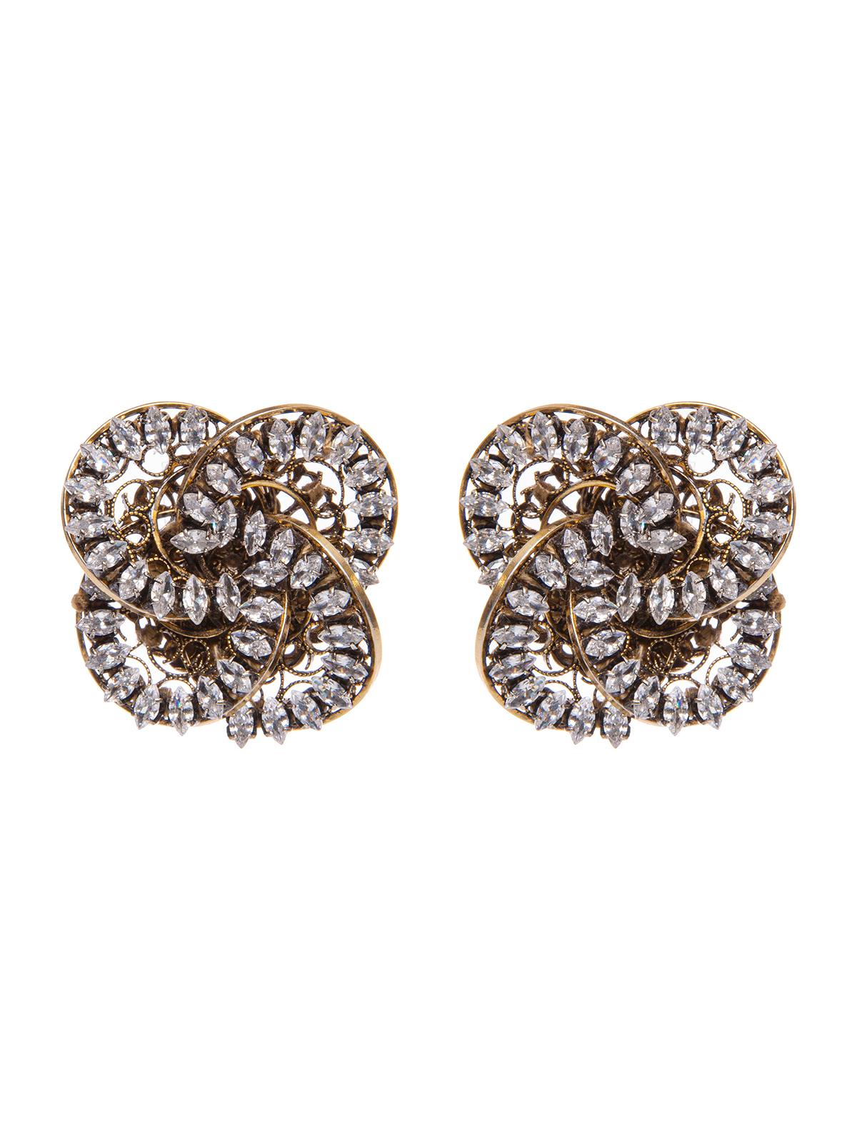 Earrings with  jewel pinwheel decoration