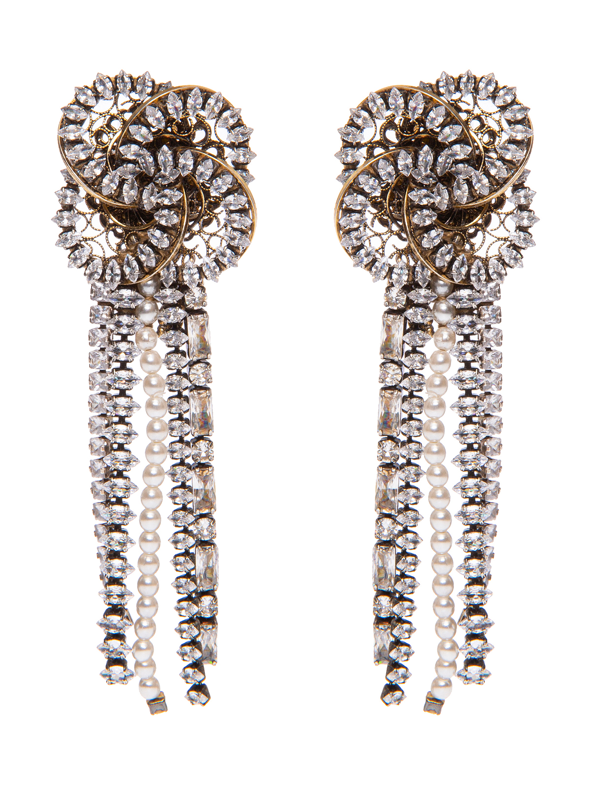 Earrings with  jewel pinwheel decoration and crystal and bead cascade