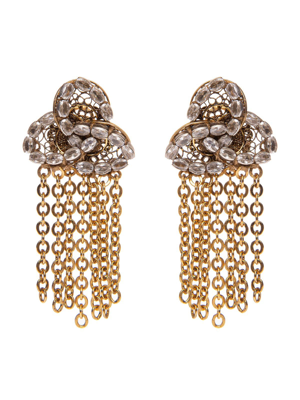 Earrings with crystal petals and chain cascade