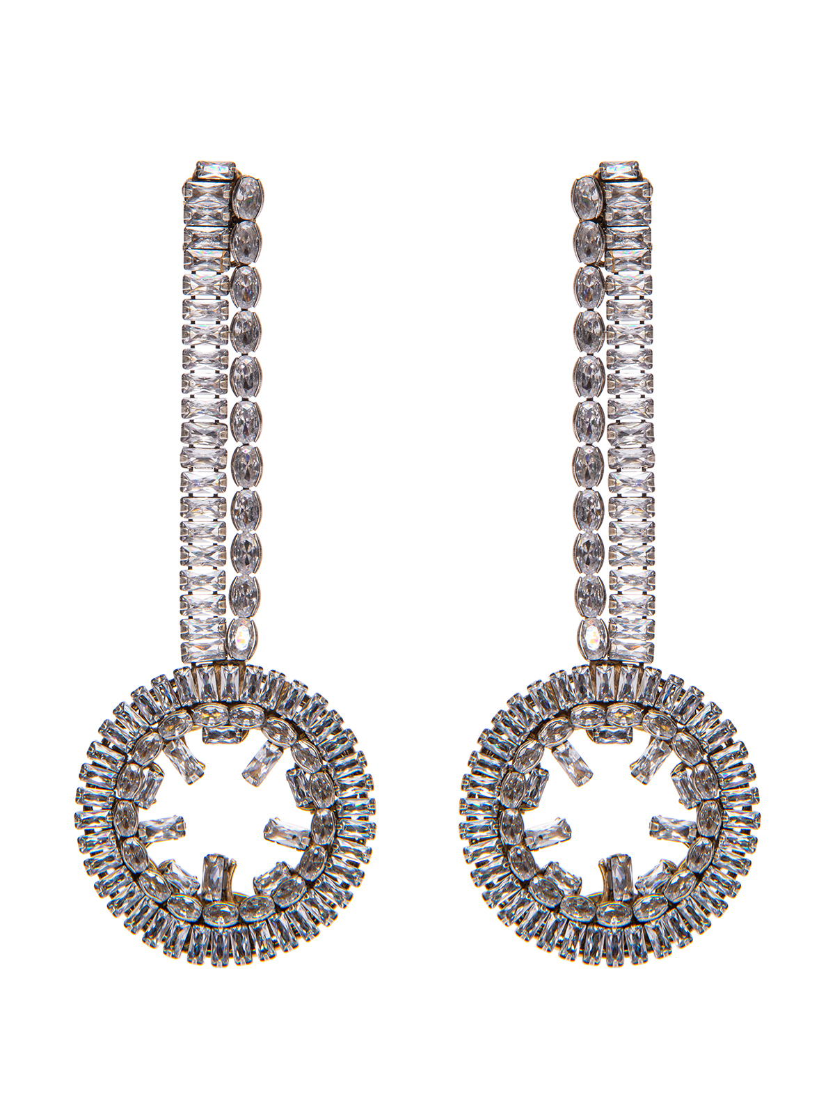 Earrings with round jewel pendant embroidered with stones