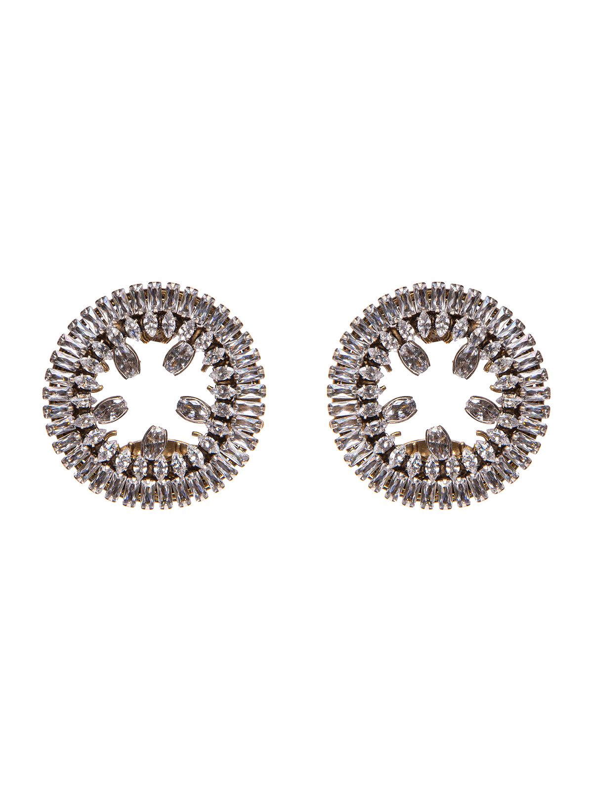 Earrings with  jewel round central embroidered with stones