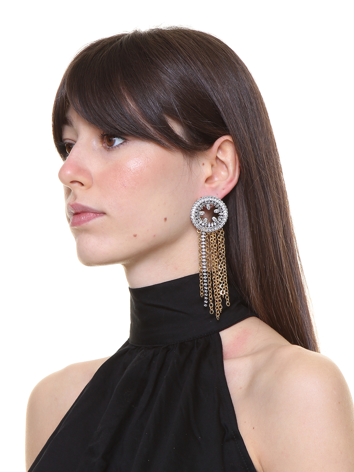 Round jewel earrings with crystal and chain cascade