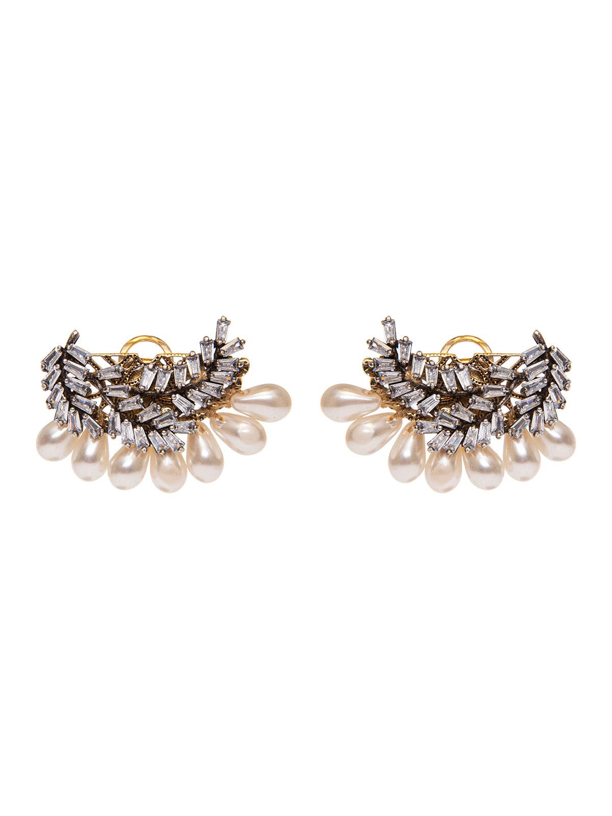 Crystal leaves earrings with pearl drops