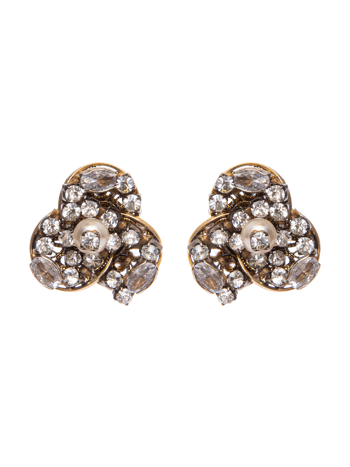Earrings with crystal petals with central pearl