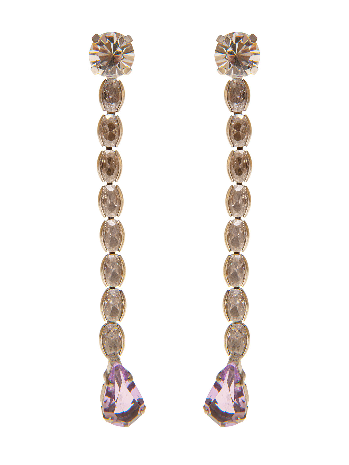 Stone pendent earrings with glass drops