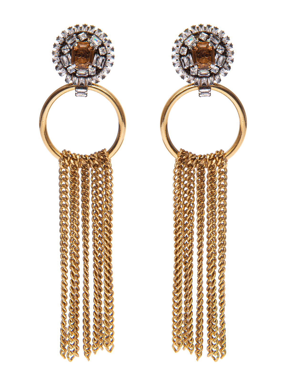 Crystal button earrings  with chain cascade