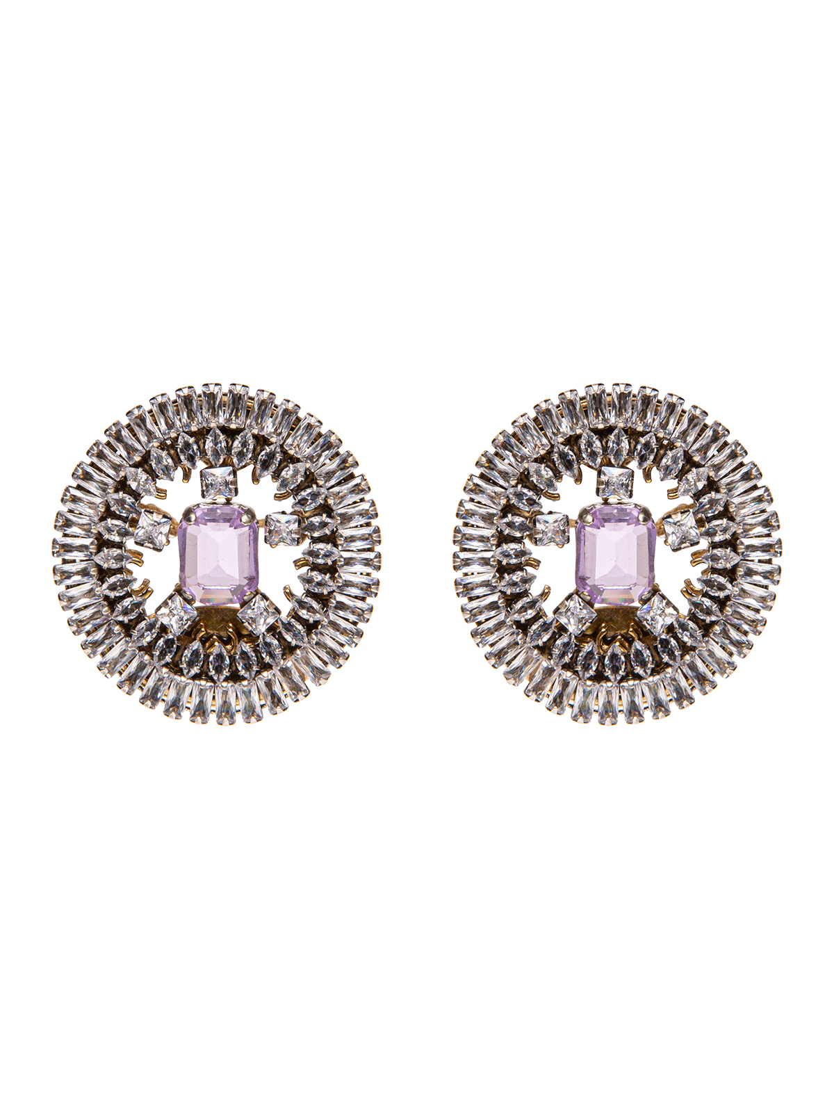 Jewel round earrings embroidered with baguettes and central stone